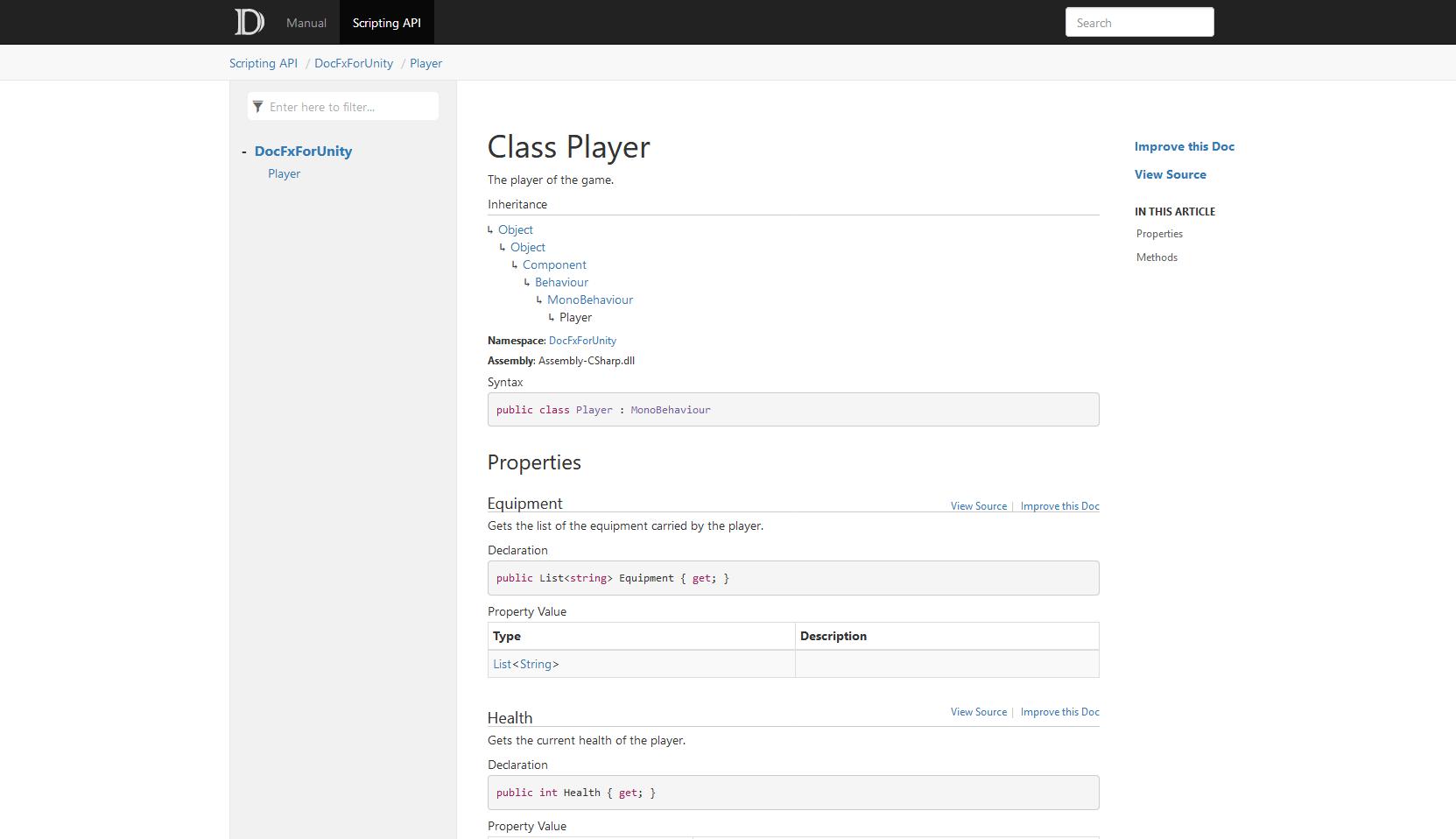 DocFxForUnity documentation scripting API